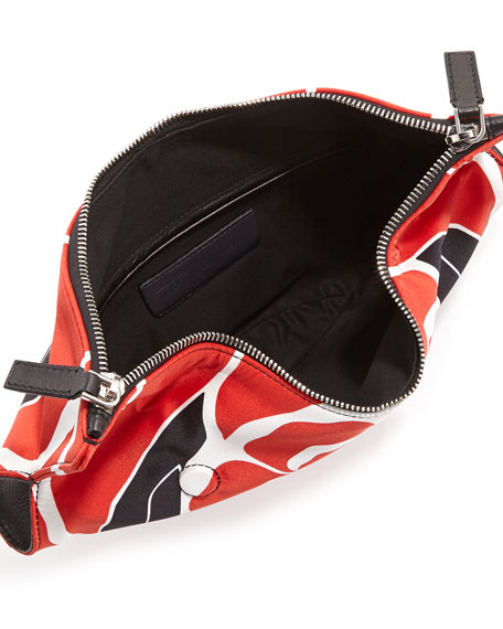 Small De-Manta Floral-Print Clutch Bag, Red/Black/White