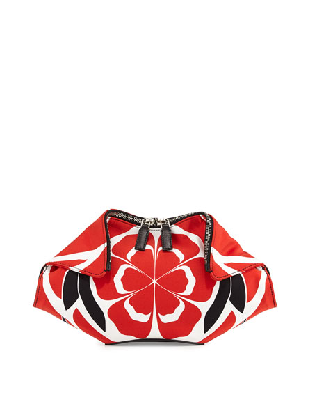 Alexander McQueen Small De-Manta Floral-Print Clutch Bag Red/Black/White