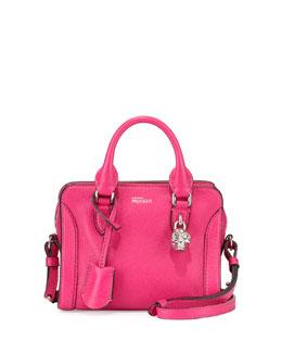 Mini Padlock Zip Satchel Bag, Pink
