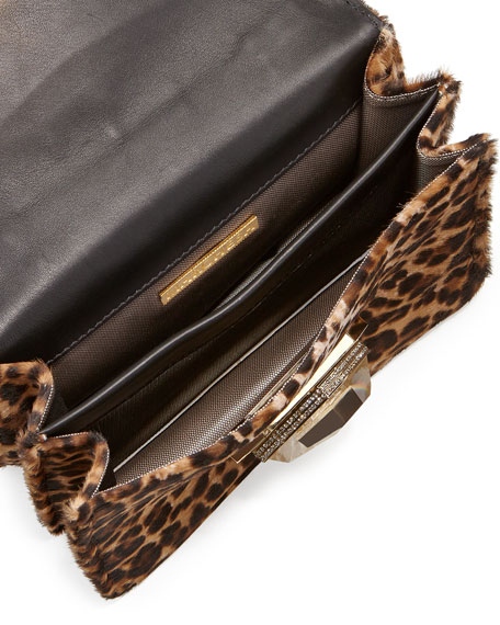 Mini Daphne Calf Hair Crossbody Bag, Leopard