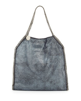 Falabella Large Tote Bag, Metallic Navy