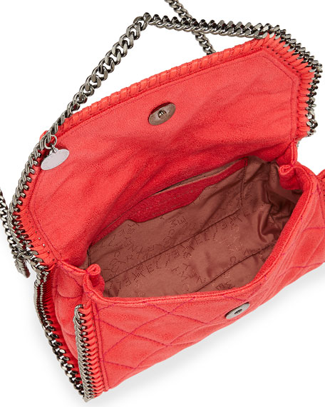 Falabella Quilted Flap Shoulder Bag, Bright Coral