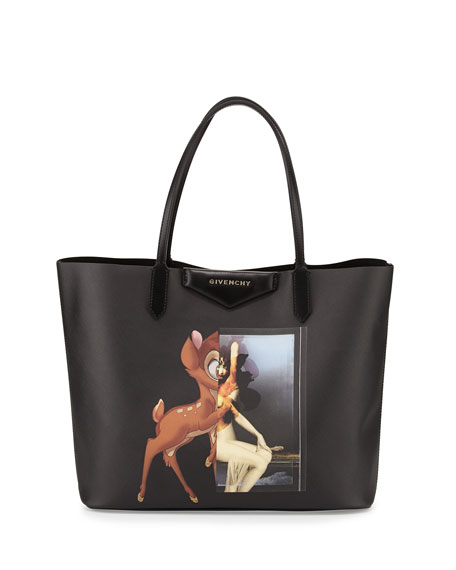 Antigona Small Leather Shopping Tote, Bambi Print
