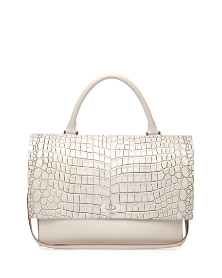 Shark Medium Stamped Crocodile Bag, Off White