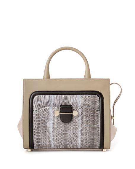 Daphne Leather & Snake Crossbody Bag, Beige