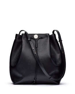 Bucket 10 Grained Calfskin Bag, Black
