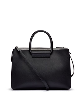 Satchel 12 Leather Tote Bag, Black