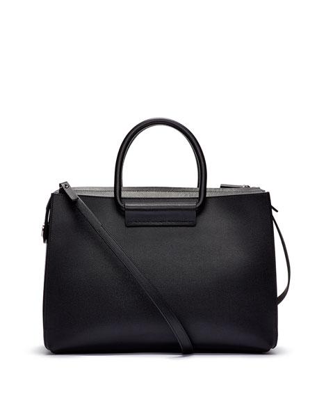 Satchel 12 Leather Tote Bag, Black