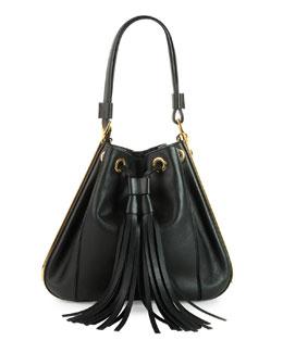 Small Drawstring Bucket Bag, Black