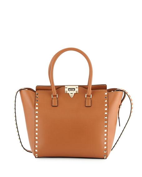 Rockstud Double-Handle Shoulder Tote Bag, Brown