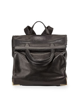 Prisma Leather Fold-Over Backpack, Black