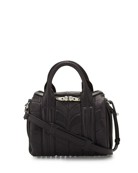 Rockie Dumbo Embossed Satchel Bag, Black