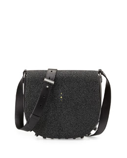 Alpha Lia Stingray Flap Shoulder Bag, Black