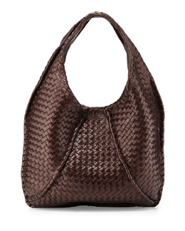 Bottega Veneta Cervo Large Metallic Hobo Bag, Metallic Dark Brown
