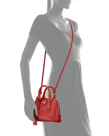 prada mini double-handle trapezoid bag