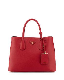 Saffiano Cuir Small Double Tote Bag, Red (Fuoco)