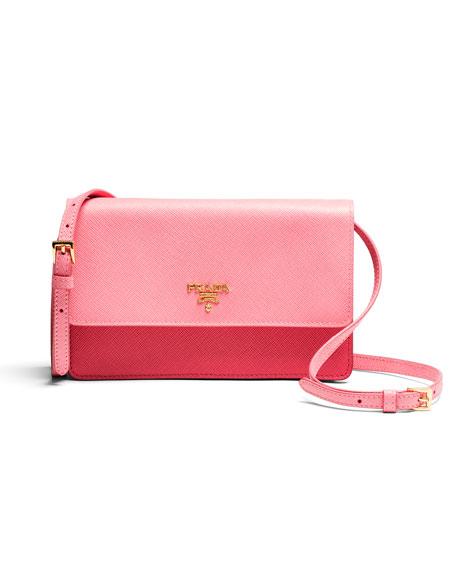 Saffiano Mini Bicolor Crossbody, Pink (Peonia)