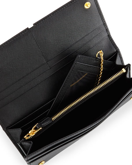 d01e3ae69146 Prada Textured Leather Continental Wallet, Black (Nero)