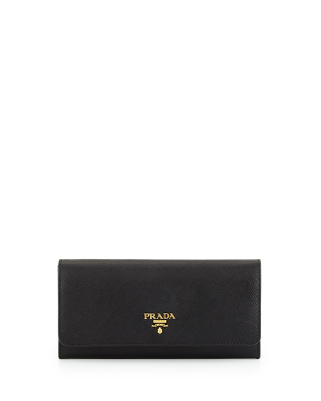 Textured-leather Continental Wallet - Black Prada