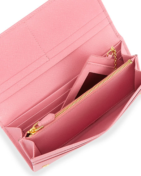 d0ee3d5a343b Prada Saffiano Continental Flap Wallet, Pink (Geranio)