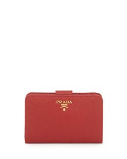 Saffiano Triangle Bi-Fold Tab Wallet, Red (Fuoco)