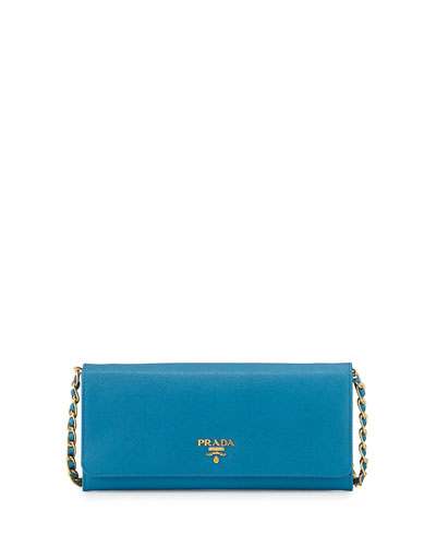 Saffiano Wallet on Chain, Turquoise (Celeste)