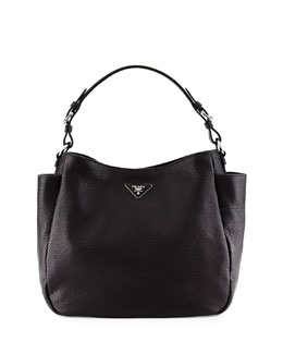 Vitello Daino Single Strap Tote Bag, Black (Nero)