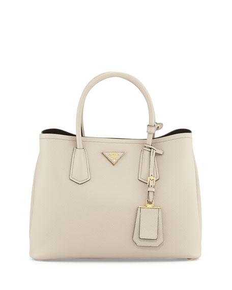 Prada Saffiano Cuir Small Double Bag, Light Gray (Pomice)