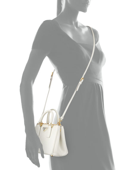 prada handbags on sale - Prada Saffiano Mini Galleria Crossbody Bag, White (Talco)