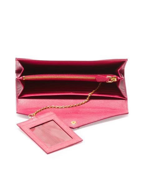 d96b2b6e8139c9 Prada Saffiano Bicolor Envelope Wallet, Pink/Dark Pink (Peonia+Bisco)