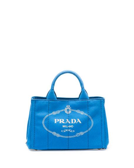 17387cd1a Prada Canvas Mini Logo Tote with Strap, Cobalt Blue (Azzuro)