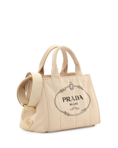 Canvas Mini Logo Tote with Strap, Beige (Corda)
