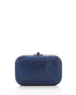 Crystal Slide-Lock Clutch Bag, Silver/Capri Blue