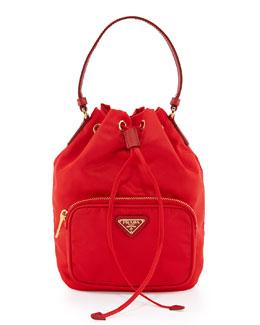 Tessuto Mini Bucket Crossbody Bag, Red (Rosso)