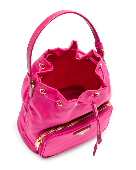 Tessuto Mini Bucket Crossbody Bag, Fuchsia (Fuxia)