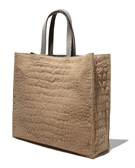 Medium Grained Calfskin Shopping Tote Bag, Taupe