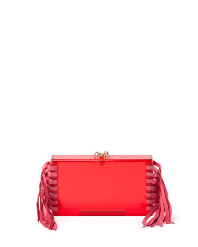 Fringe Pandora Clutch Bag, Pink