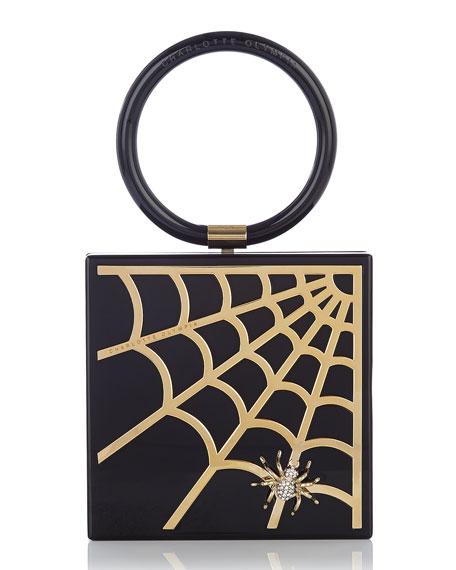 Spider Web Acrylic Clutch Bag, Black/Gold