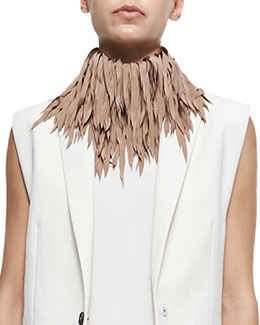 Feathered Silk Fringe Necklace, Biscotti