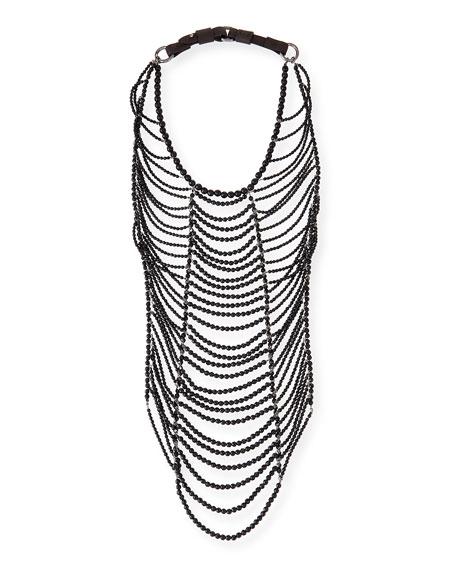 Black Agate Tribal Necklace, Black