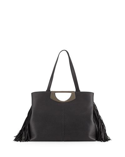 Passage Medium Fringe Shopping Tote Bag, Black