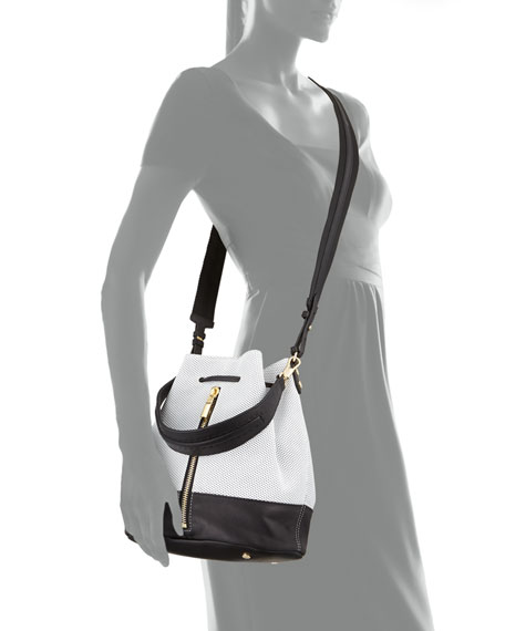Cynnie Perforated Bucket Bag, White/Black