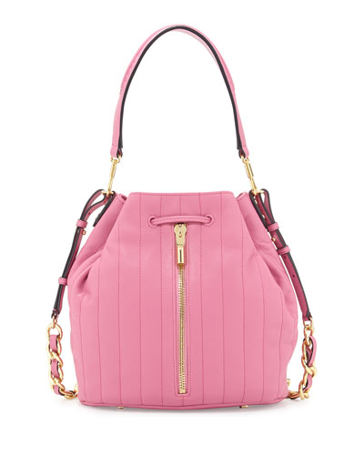 Cynnie Quilted Bucket Bag, Zinnia Pink