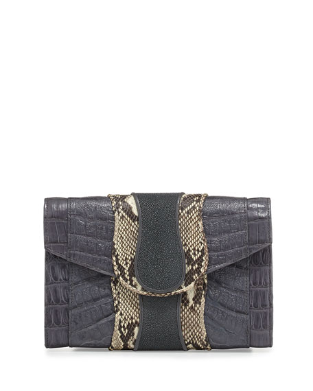 Herzog Mixed-Media Clutch Bag, Gray/Natural