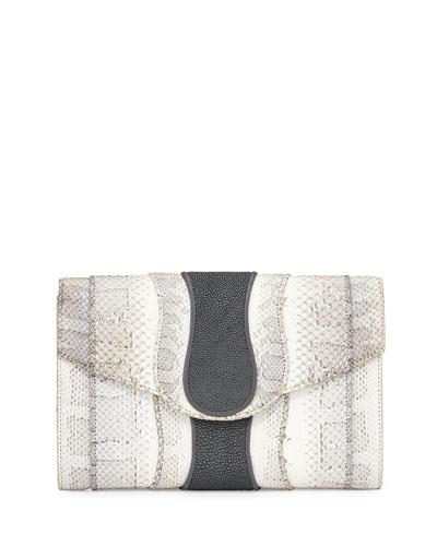 Herzog Snake & Stingray Clutch Bag, White/Smoke