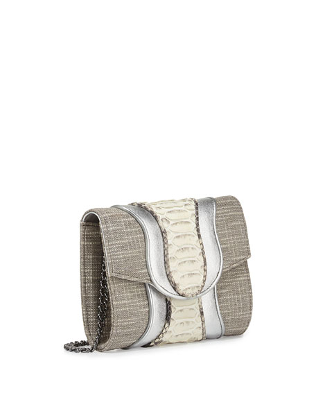 Jolie Tweed Mixed-Media Clutch Bag, Silver/Natural