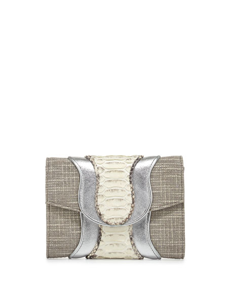 Jolie Tweed Mixed-Media Clutch Bag, Silver/Natural
