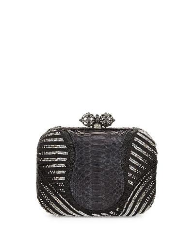 Batasha Beaded Python Evening Clutch Bag, Black