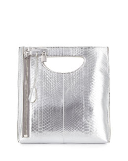 Alix Zip & Padlock Crossbody Bag, Silver