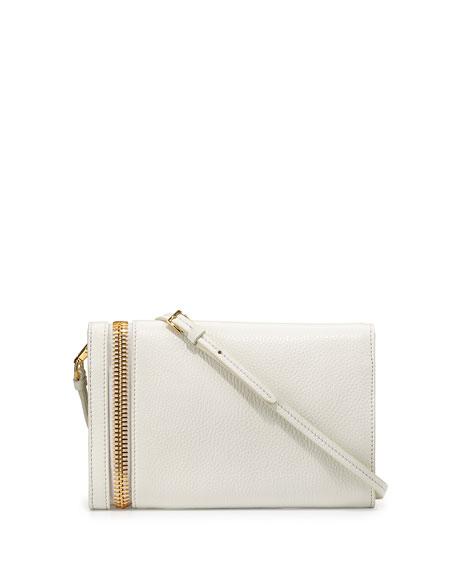 Alix Small Fold-Over Crossbody Bag, White